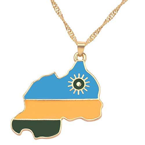 Ruanda Country Flag National Flag Halskette Anhänger Mode Charme Männer Frauen Schmuck Kette Zubehör Patriot Chic Kette