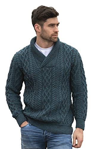 Aran Crafts Men's Soft Wool Cable Knit Shawl Collar Sweater (SH5065-LG-PCOK)