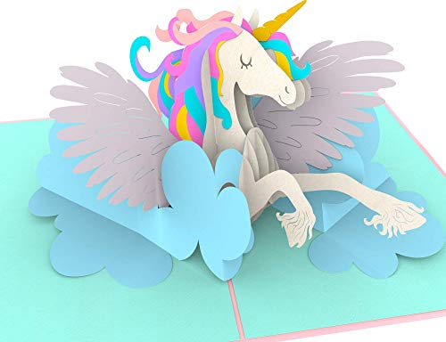 primetea Geburtstagskarte, Einhorn auf Wolke, Unicorn, Süße XXL 3D-POP-Up-Karte, Einhornkarte, Glückwunschkarte, Grußkarte, Originelle Geschenkkarte, Einladungskarte Geburtstag-Party, PT-PC0139