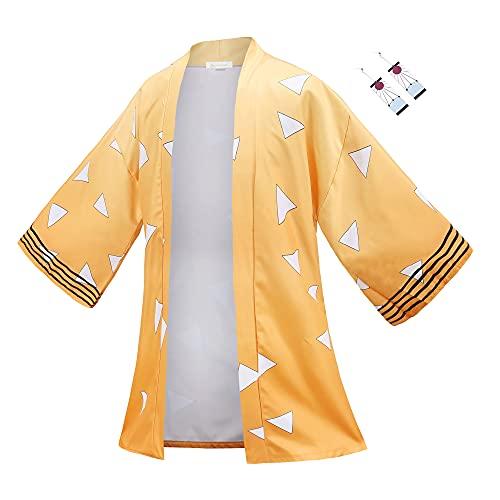 Unisex Anime Demon Slayer Cosplay Kimetsu Cosplay Agatsuma Zenitsu Kimono Cloak Halloween Earrings set (Yellow, Medium)