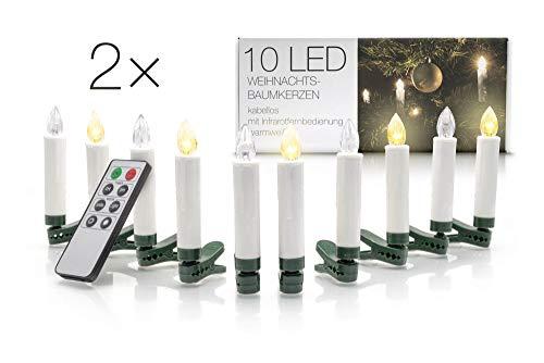 LED Universum kabellose Weihnachtsbaumbeleuchtung: dimmbare batteriebetriebene LED Kerzen mit Fernbedienung und Timerfunktion (20er Set, warmweiß, mit verschiedenen Modi, drahtlos)
