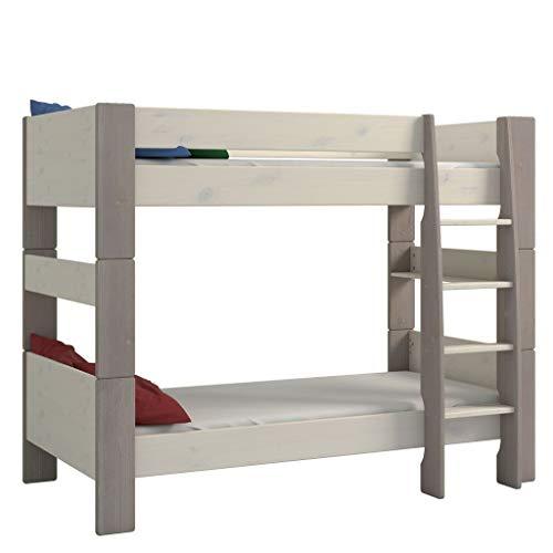 Steens For Kids Kinderbett, Etagenbett inkl. Lattenrost und Absturzsicherung, Liegefläche 90 x 200 cm, Kiefer massiv, grau,weiß