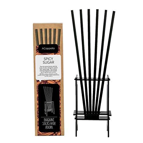 ACappella Pre-Fragranced difusor de lámina de Palos con Soporte azúcar Picante Perfume - Sticks habitación Gift Set - No líquido Necesario - 6 x 6 Piezas (Paquete de 6)