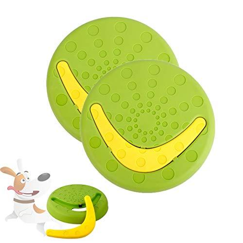 HyiFMY 2pc Perro Pet Pet VOLLAR Disco DE Juguete, Transporte DE Pet DE Dos EN UNO Frisbee Juguetes, con Boomerang DETAQUEBLE, para Dog DIVERSIÓN INTERACTIVA AL ATERIOR (Color : Green)