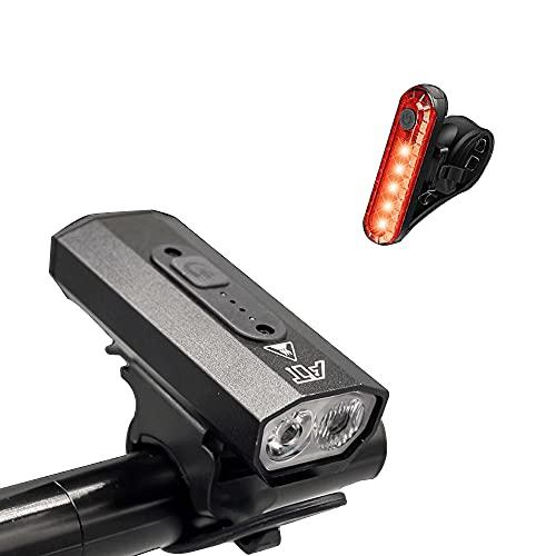UAAA Set di luci per bicicletta, USB Ricaricabile Auto Faro Running Light Equitazione Torcia Elettrica Accessori per Biciclette T6 doppia lampada perline Luce Testa e Fanale posteriore