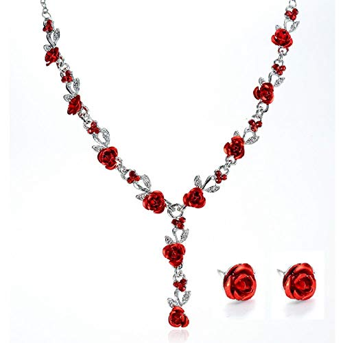 DGSDFGAH Collar De Mujer,Rojo Rosa Flor Collar Boda Rhinestone Moda Collar Pendiente Conjunto Boda Conjunto De Novia Africano Cuenta Joyería Colgante Elegante Regalo para Las Mujeres
