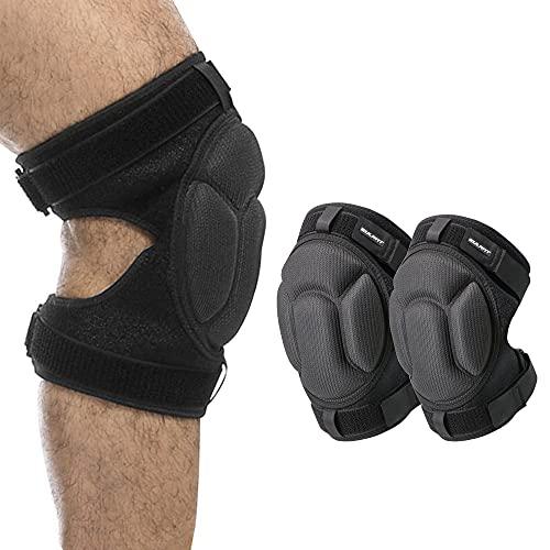 Versión Actualizada Rodilleras de Esponja Gruesa con Correas Ajustables, Protección de Rodilla para Evitar Colisiones para Arrodillarse Voleibol Artes Marciales Senderismo Baile Jardinería, M