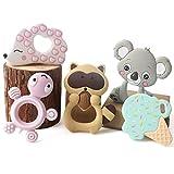 let's make Bebé 5pcs Silicona Conjunto de Mordedor Erizo Animal Dentición Colgante Sonajas Infantil Juguetes Montessori