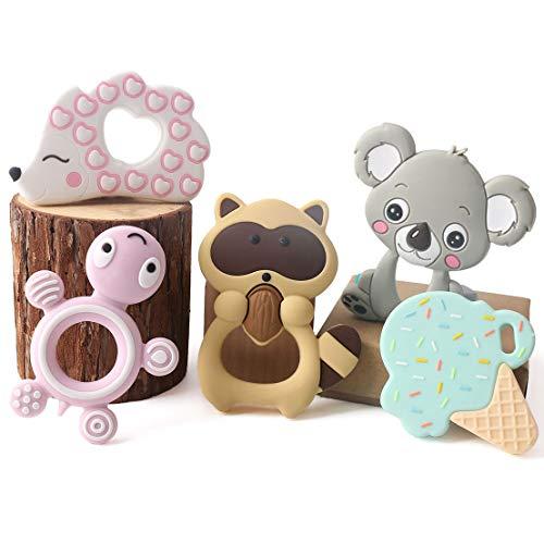 let's make Baby 5pcs Silikon Beißring Set Igel Tier Zahnen Anhänger Rasseln Infant Montessori Spielzeug