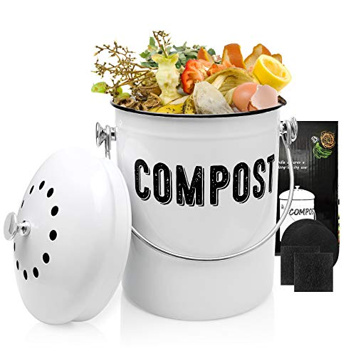 Compost Bin Indoor Compost Bucket with Smell Filters for Kitchen Countertop - 13 Gallon Rust Proof Easy Clean