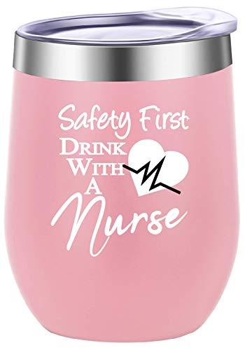 GINDU Primera Bebida de Seguridad con una Copa de Vino de la Novedad de la Enfermera, Vaso, Taza, Regalos Divertidos de cumpleaños para Enfermeras, Navidad 12 oz Blanco (Color : Light Pink)