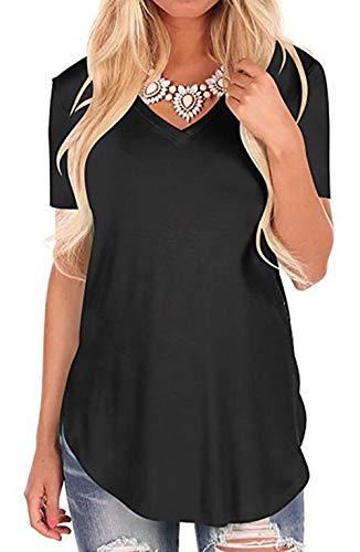 Aswinfon Camiseta de Mujer Talla Grande Verano Suelto Cuello...