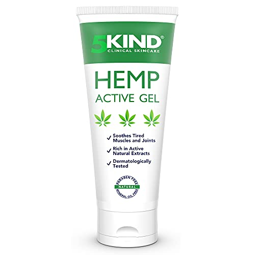Hemp Joint & Muscle Active Relief Gel- High Strength Hemp Oil Formula Rich in Natural Extracts by 5kind. Soothe Feet, Knees, Back, Shoulders (100ml)