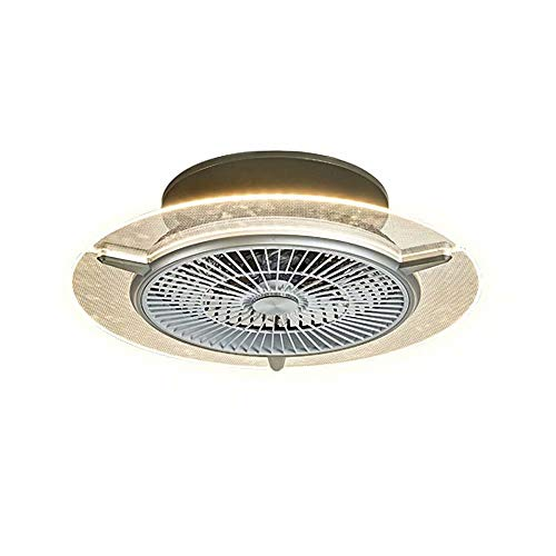 Ventilador de techo acrílico con luz 6 aspas Ventiladores de techo invisibles Iluminación Lámpara LED Control remoto 3 cambios de color 3 velocidades de viento Ventiladores de techo silenciosos