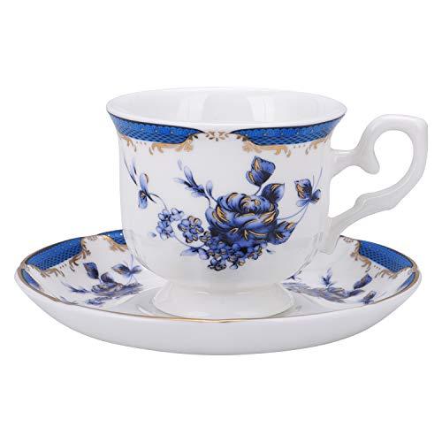 fanquare Vintage Taza de Café Espresso de Rosa Azul, Juego de Taza de Té con Plato de Porcelana Inglesa, 160 ml