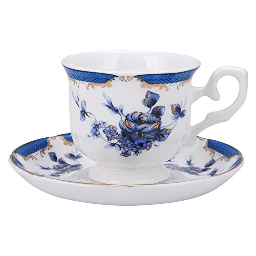 fanquare Vintage Taza de Café Espresso de Rosa Azul, Juego de Taza...