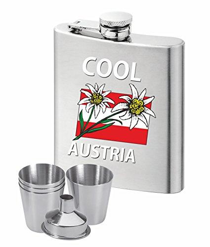 Trendagentur KEPPLINGER Der Flachmann für Österreich Fans: mit hochwertigem Aufdruck Cool Austria mit Edelweis