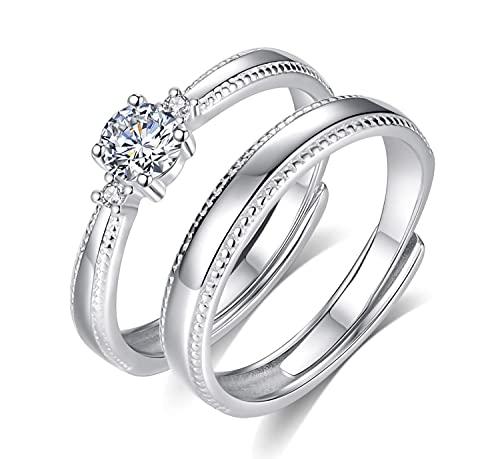 Juliyeh Anillos de pareja plata de ley 925 ,Anillos de compromiso,Exquisito empaque de caja de rosas, ajustable.