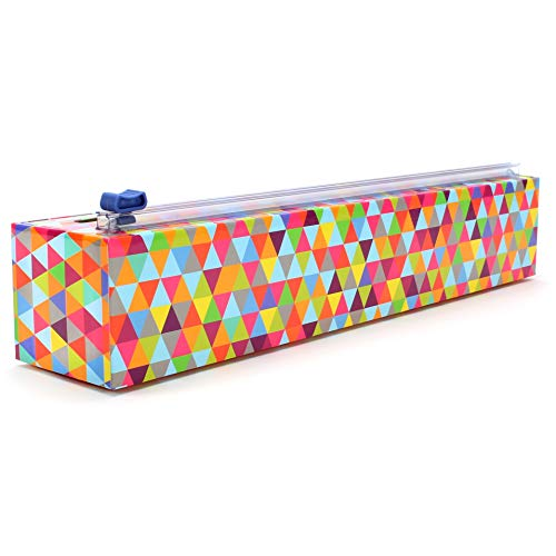 ChicWrap Triangle Refillable Plastic Wrap Dispenser with Slide Cutter and 250' of Professional BPA Free Plastic Wrap