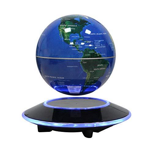 磁気浮上 地球儀 世界地図 360度自動回転型 電磁誘導 空中浮遊 台座LEDライト付き 子供用 学習用 教学用 テーブルの飾り 6インチ