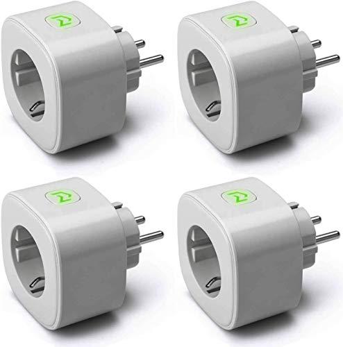 Presa WiFi Intelligente 16A Smart Plug Monitoraggio Consumi Funzione Timer, APP Controllo Remoto, Compatibile con SmartThings, Alexa, Google Assistant e IFTTT, 4 Pezzi Grigio, MSS310 meross