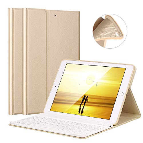 iPad Air/Air 2 Keyboard Case, LUCKYDIY Ultra Slim Stand Cover+Magnetical Detachable Wireless Bluetooth Keyboard for Apple iPad Air1/Air2