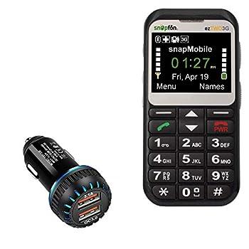 Snapfon EzTWO Car Charger BoxWave [QC3.0 Dual Car Charger] Dual Charger for Fast Multi-Device Charging for Snapfon EzTWO - Jet Black
