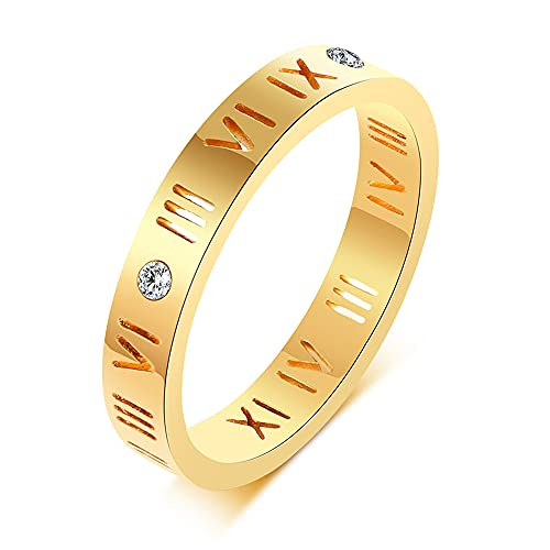 Vnox Stainless Steel CZ Roman Numeral Ring for Women Girls,Rose Gold Plated/Silver (Gold Plated, 7)