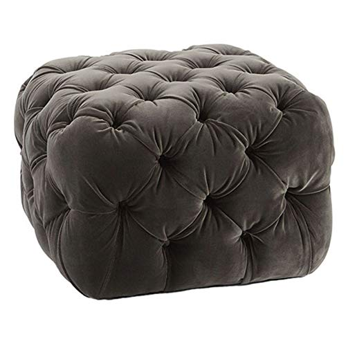 BUYYUB 1PC American Footstool Velvet Material, Light Luxury Sofa Shoe Changing Stool for Living Room Bedroom 30 * 30 * 35 Cm (Color : Dark brown)