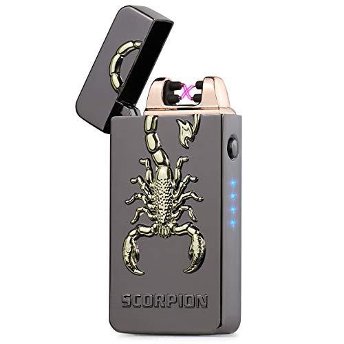 SHUNING USB-Feuerzeug, elektrisches winddichtes flammenloses Doppelbogenfeuerzeug, LED-Batterieanzeige Wiederaufladbares Küchenkerzen-Grillfeuerzeug mit Geschenkbox(Black Scorpion)