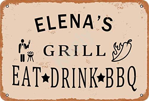 Keely Elena'S Grill Eat Drink BBQ Metall Vintage Zinn Zeichen Wanddekoration 12x8 Zoll für Cafe Bars Restaurants Pubs Man Cave Dekorativ