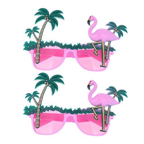 TENDYCOCO 2 Stück Hawaiianische Party Sonnenbrille Flamingo Kokosnussbaum Design Brille Party Kostüm Brillen Verkleiden Sonnenbrille Selfie Fotokabine Tropische Luau Party Dekorationen