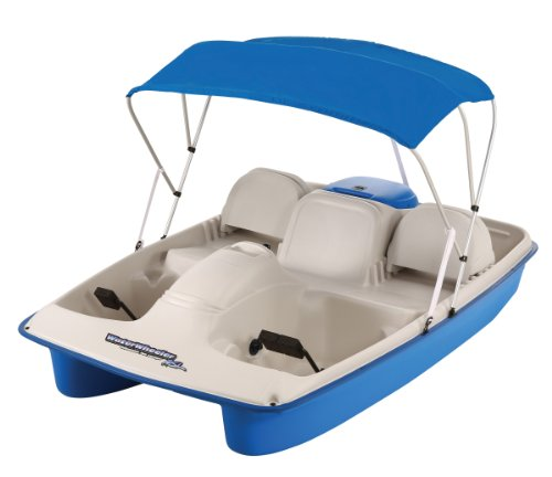 paddle boat or pedal boats SUNDOLPHIN Sun Dolphin Water Wheeler Electric ASL 5 Person Pedal Boat with Canopy (Blue)