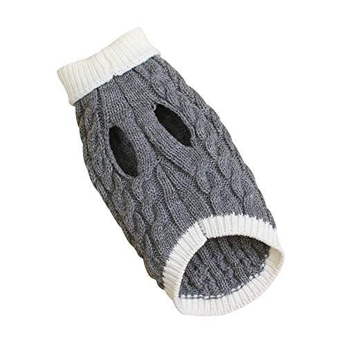 Suéter para perro, chaleco de punto cálido, para cachorro, suave, lana de invierno, color gris