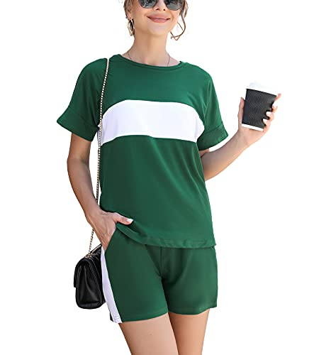 Doaraha Traje Corto Casual para Mujer, Conjunto de Camisaeta con Cuello Redondo y Pantalón Corto, Conjunto de Chándal Deportivo Corto con Rayas de Costuras para Verano