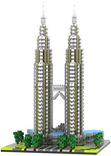 DIY bloques de construcción, Torres Petronas bloques de construcción de juguete, rompecabezas 3D Puzzle DIY Jugar, Juguete de construcción Lugar famoso Kit (2351Pcs), bricolaje casa, regalo mejor jugu