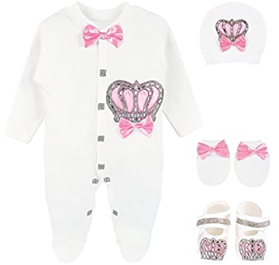 Lilax Baby Girl Newborn Crown Jewels Layette 4 Piece Gift Set 0-3 Months Pink