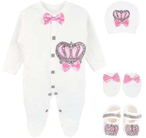 Lilax Baby Girl Newborn Crown Jewels Layette 4 Piece Gift Set 3-6 Months Pink