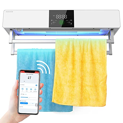 ROADVIEW Towel Warmers with UV Sanitizing, Intelligent Electric Heated Towels Dryer Tuya WiFi Control Towel Warmers Wall Mounted for Bathroom, Compatible with Alexa, Google Assistant