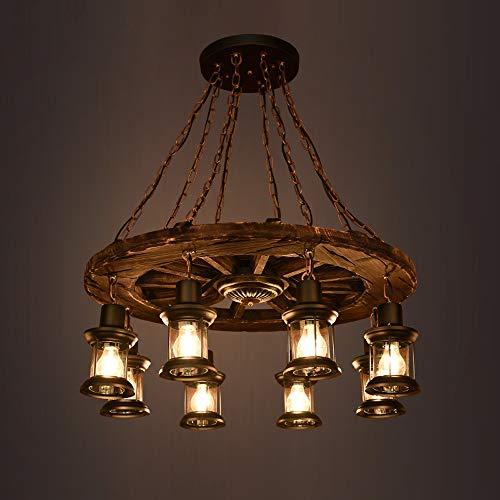 ZAKRLYB. 8 luci vintage sala da pranzo lampadario lanterna di vetro plafoniera villa ferro metallo appeso barra luminosa in legno massello lampada a sospensione cafe room art decor ruota apparecchio E