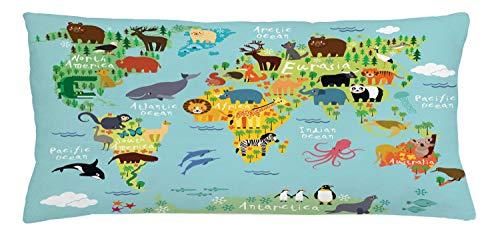 ABAKUHAUS Viajeros Funda para Almohada, Animal Mapa del Mundo para Niños Dibujos Infantil Montaña Bosque, Estampa Digital Nítida en Ambos Lados, 90 x 40 cm, Verde Amarillento