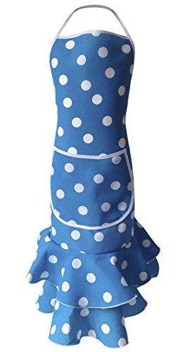 La Senorita Spaans schort voor dames/vrouwen - blauw met witte stippen luxe
