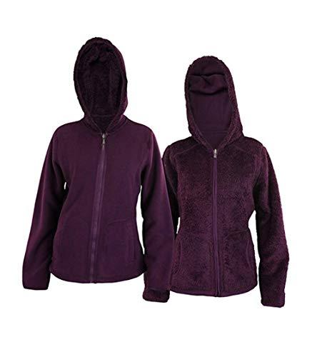 Womens Reversible Full Zip Hooded Polar Fleece & Faux Fur Jacket, Plum