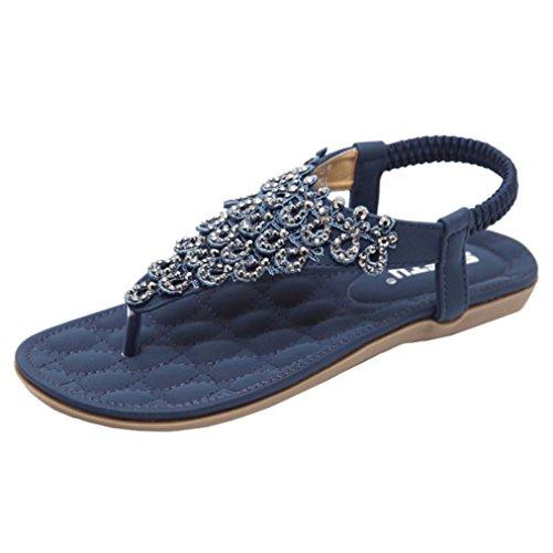 Ansenesna Sandalen Damen Sommer Leder Flach Glitzer Offen Zehentrenner Elegant Sommerschuhe Stoff Comfort Romeinse Schuhe (41, Blau)