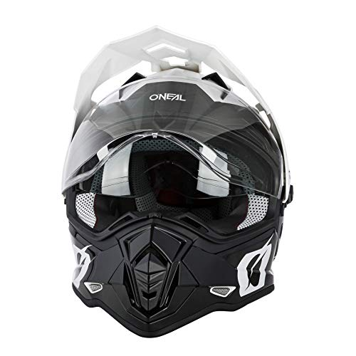 O'NEAL | Casco de Moto | Moto Enduro | Aberturas de ventilación para un máximo Flujo de Aire y refrigeración, Carcasa ABS, Visera Solar integrada | Casco Sierra R | Adultos | Blanco Negro | Ta