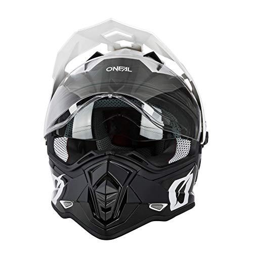 O'NEAL | Casco de Motocicleta | Moto Enduro | Aberturas de ventilación para un máximo Flujo de Aire y refrigeración Visera Solar integrada | Casco Sierra R | Adultos | Blanco Negro | Talla XXL