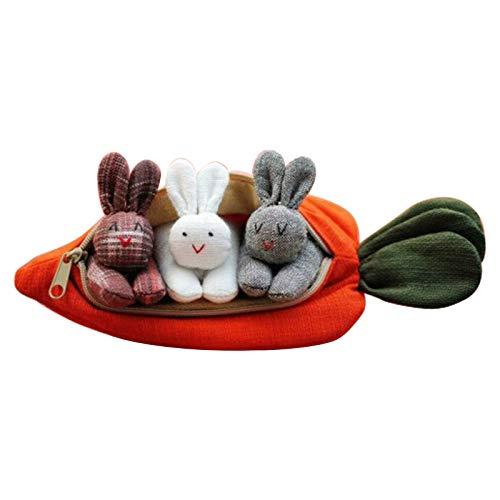 Monedero con forma de zanahoria para niños con 3 conejos, regalo de Pascua para niños en el hogar, vacaciones, decoración de escritorio con lindo conejo