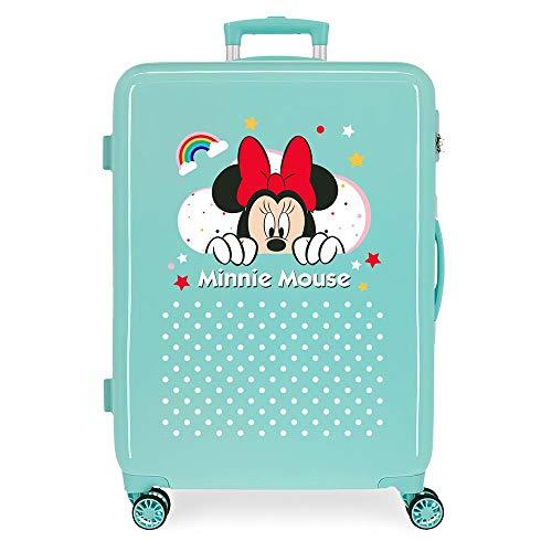 Disney Minnie Rainbow Maleta Mediana Verde 48x68x26 cms Rígida ABS Cierre de combinación Lateral 70L 2,66 kgs 4 Ruedas Dobles