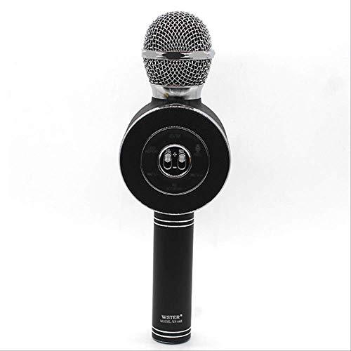 RRYM Microfoons Draadloze Microfoon Bluetooth Karaoke Speaker Voice Changer Mic Voor Pc Telefoon Led Disc Licht B WSTER Black