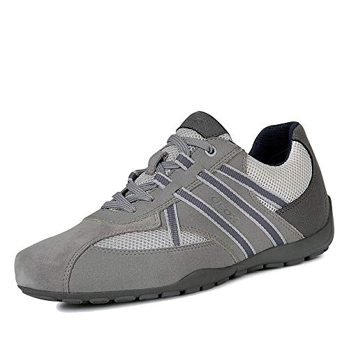 Geox Uomo Scarpe Stringate Basse U RAVEX, Uomini Sneaker, Lacci,Scarpe da Strada,Sportivo,Elegante,Casuale,Stone/LT Grey,43 EU / 9 UK